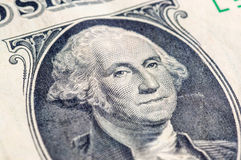 USA jeden dolarowego rachunku zbliżenie makro-, 1 usd banknotu, George domycie Zdjęcie Royalty Free