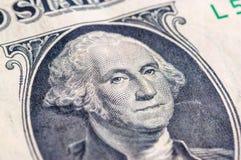 USA jeden dolarowego rachunku zbliżenie makro-, 1 usd banknotu, George domycie Obraz Stock