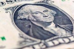 USA jeden dolarowego rachunku zbliżenie makro-, 1 usd banknotu, George domycie Fotografia Stock