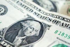 USA jeden dolarowego rachunku zbliżenie usd banknotów George Washington pora Zdjęcia Stock