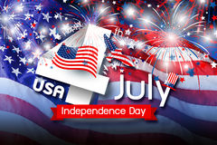 USA 4 july independence day design of america flag with firework Stock Image