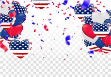USA 4 july independence day design vector illustration balloons. Balloons and confetti Royalty Free Illustration