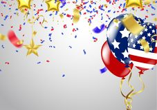 USA 4 july independence day design vector illustration balloons. Balloons and confetti stock illustration