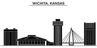 Usa, Kansas, Wichita architecture vector city skyline, travel cityscape with landmarks, buildings, isolated sights on stock illustration
