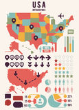USA-Karte der Vereinigten Staaten von Amerika mit infographics Elementen Stockfotos