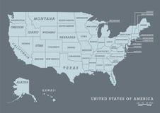 USA-Karte mit Namen von Zuständen Lizenzfreie Stockfotografie