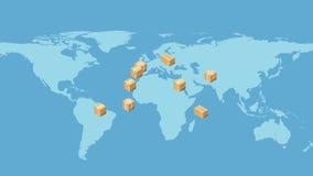 USA-Karte mit Pappschachteln Globales Logistikkonzept lizenzfreie abbildung
