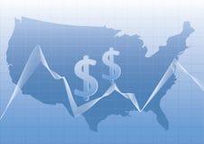 USA-Karte stilisiert mit Dollarzeichen. Lizenzfreies Stockfoto