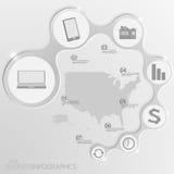 USA-Karte und Elemente Infographic Vektor Stockfoto