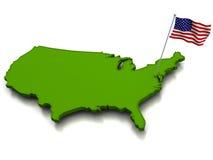 USA - Karte und Markierungsfahne Stockbilder