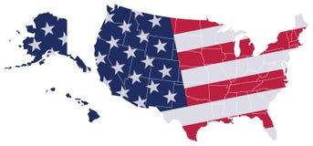 USA-Karten-Flagge Lizenzfreie Stockfotografie