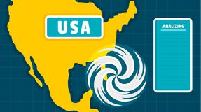 USA-Kartentornadohintergrund, flache Art stock abbildung