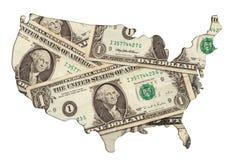 USA-Kartenumreiß mit Geldfotoabbildung Lizenzfreies Stockbild