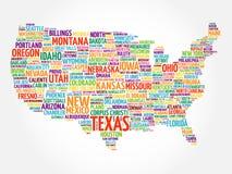 USA-Kartenwort-Wolkencollage Lizenzfreie Stockbilder