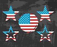 USA kennzeichnen auf schwarzem Hintergrund Stern- und Kreisform Lizenzfreie Stockbilder