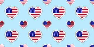 USA kennzeichnen nahtloses Muster Vector die stikers Flaggen der Vereinigten Staaten von Amerika Liebesherzsymbole Hintergrund fü stock abbildung