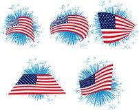 USA kennzeichnen Set mit Feuerwerken Lizenzfreie Stockbilder