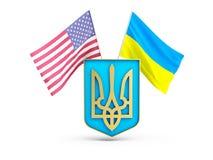 USA kennzeichnen und von Ukraine auf dem Hintergrund des Wappens vektor abbildung