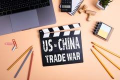 USA - Kina handelkrig Informationsteknik och aff?rsid? arkivfoto