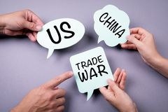 USA - Kina handlar krigbegrepp vektor f?r anf?rande f?r bubbladiagramperson talande royaltyfri fotografi