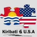 USA and Kiribati flags in puzzle Royalty Free Stock Image