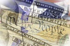 USA-konstitution oss folket, amerikanska flaggan och hundra dollarräkning royaltyfri illustrationer