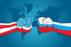 USA kontra Ryssland Fotografering för Bildbyråer