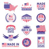 Usa labels. Flag made america american states flags label badge stamp star patriot stripe ribbon emblem sticker banner