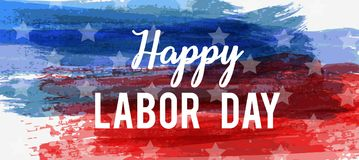 USA Labor day background. USA Labor day holiday background. Grunge abstract brushed background in flag colors. Template for holiday poster, banner, flyer, etc stock illustration
