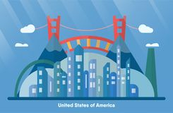 USA landmarks for travelling with urban city, golden gate and mo stock illustration
