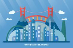 USA landmarks for travelling with urban city, golden gate and mo royalty free illustration
