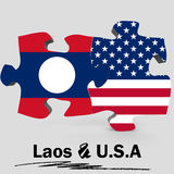 USA and Laos flags in puzzle Stock Photos
