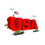USA letters 3D. Patriotic artwork military in America. Soldiers. Welcomed give honor. Paper impregnated and soldiers. Planes fly over army. Volumetric letters Royalty Free Stock Image