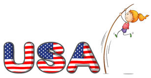 The USA letters with a girl above a stick Stock Photography