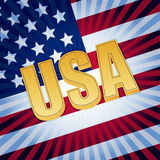 USA letters with shining american flag Royalty Free Stock Images