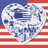 USA-Liebe Gesetztes lokalisiert mit amerikanischen Vektorikonen und -symbolen in der Form des Herzens Stockbilder