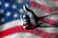 I like USA. USA likes this concept with thumbs up and USA flag Stock Photography