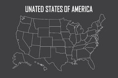 USA linear map with state boundaries. Blank white contour isolated on black. Vector illustration Royalty Free Stock Photography