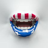 USA lips. 3D render of female lips decorated with stars and stripes Royalty Free Stock Image