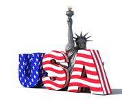 USA logo 2. Usa logo with statue of liberty- digital art work stock illustration