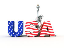 USA logo 3. Usa logo with statue of liberty- digital art work Royalty Free Stock Images