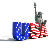 USA logo. With statue of liberty- digital art work stock illustration