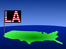 USA with Los Angeles flag. Map of USA with Los Angeles American flag illustration Stock Photography