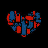 USA love. Sign heart of United States traditional folk character Stock Image