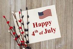 USA lycklig 4th av det Juli hälsningkortet Arkivfoto