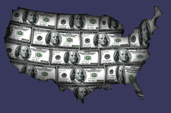 USA made from dollars. This is silhouette cards made from USA dollar Royalty Free Stock Images