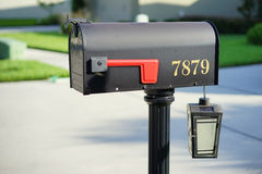 A USA mail box and a solar light Royalty Free Stock Image