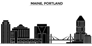 Usa, Maine, Portland architecture vector city skyline, travel cityscape with landmarks, buildings, isolated sights on Royalty Free Stock Photos