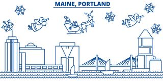 USA, Maine , Portland winter city skyline. Merry Christmas and Happy New Year decorated banner. Winter greeting card Stock Images