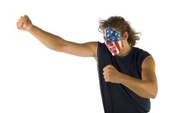 The USA male fan Stock Image